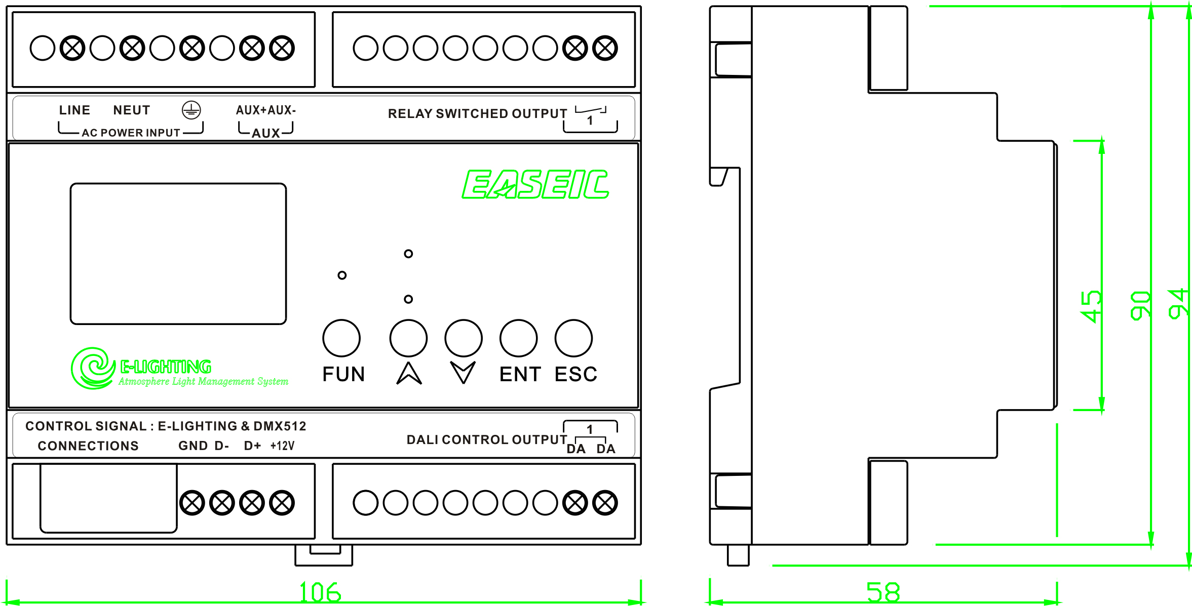 Dali Bus Management Module 2x 64channels Voltacon Led G24 Wiring Diagram Controller Dimensions In Mm Type Dbc202d