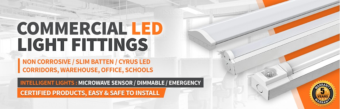 LED Slim Battens  and Cyrus Ceiling Fittings